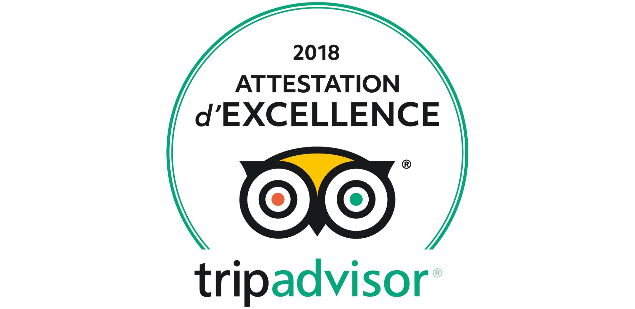 """Résultat de recherche d'images pour """"attestation excellence tripadvisor 2018"""""""